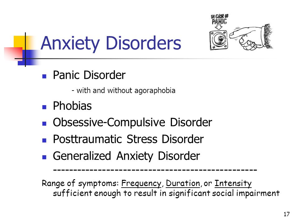 Anxiety Disorders Panic Disorder - with and without agoraphobia