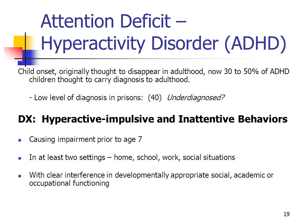 Attention Deficit – Hyperactivity Disorder (ADHD)