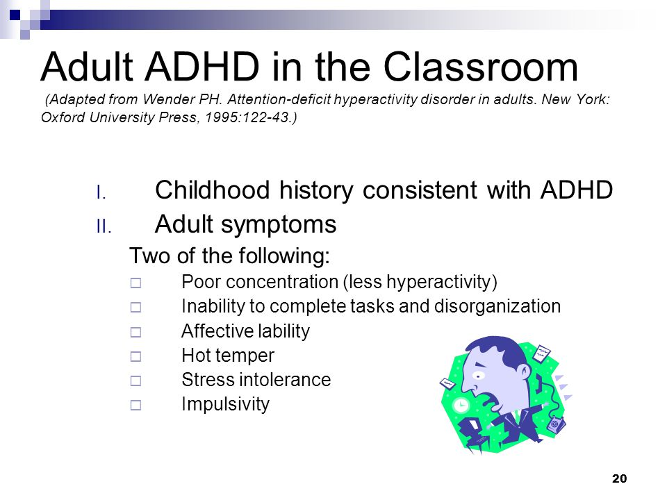 Adult ADHD in the Classroom (Adapted from Wender PH