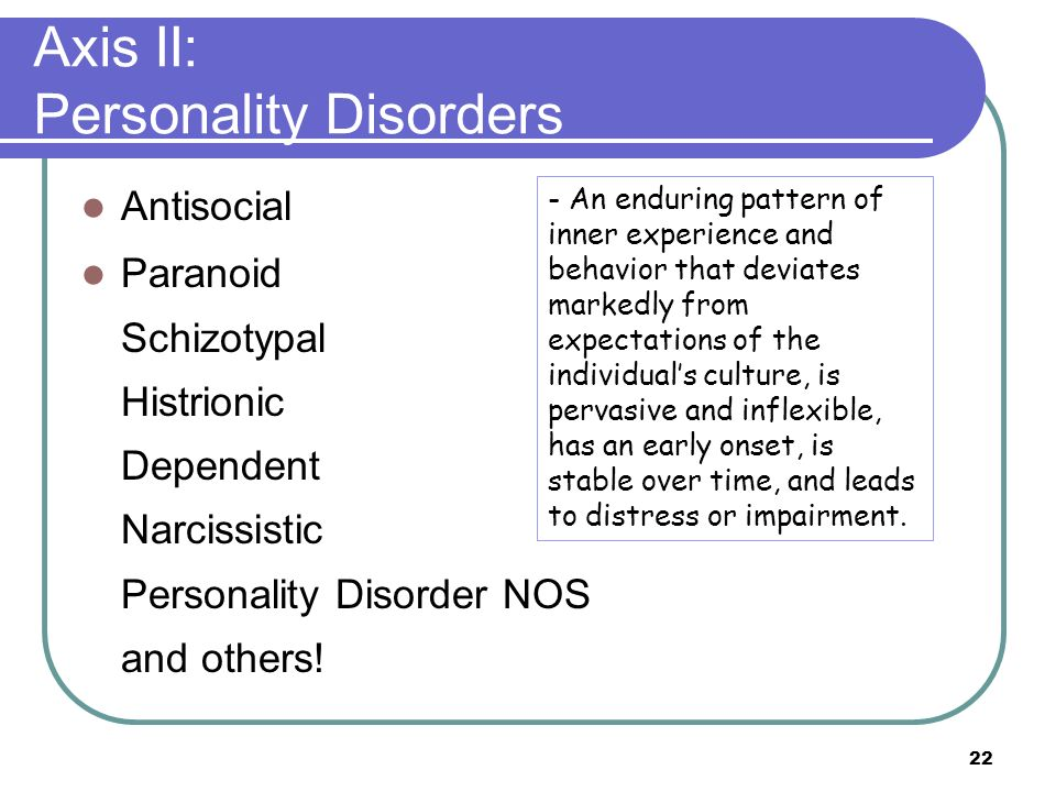 Axis II: Personality Disorders