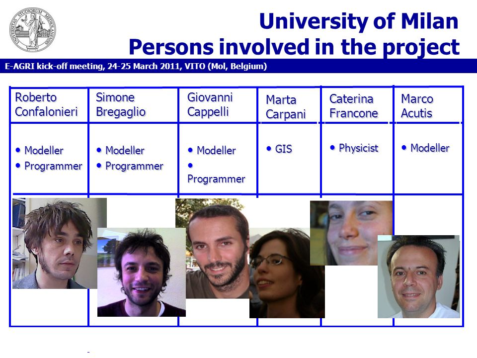 University of Milan Persons involved in the project