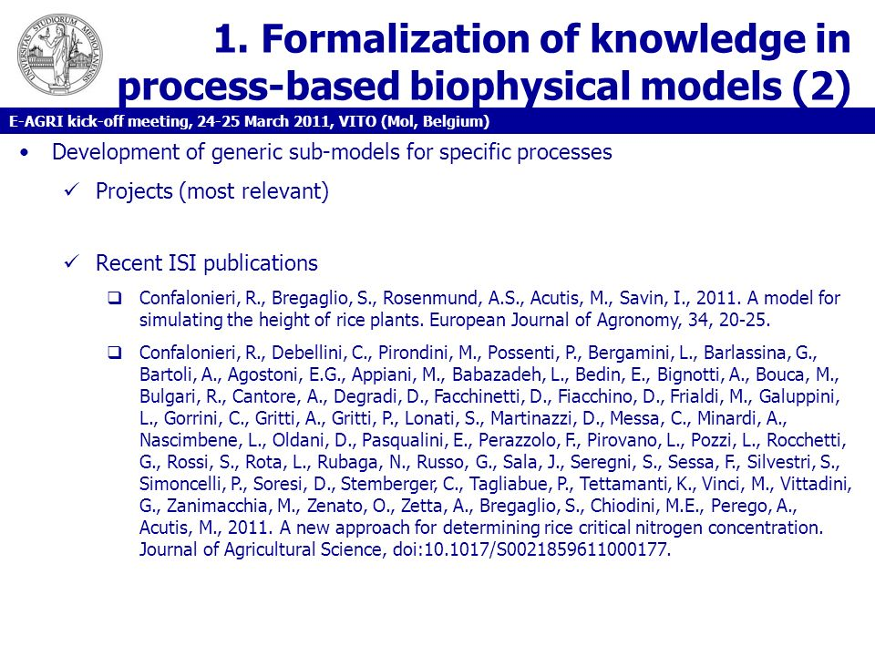 1. Formalization of knowledge in process-based biophysical models (2)