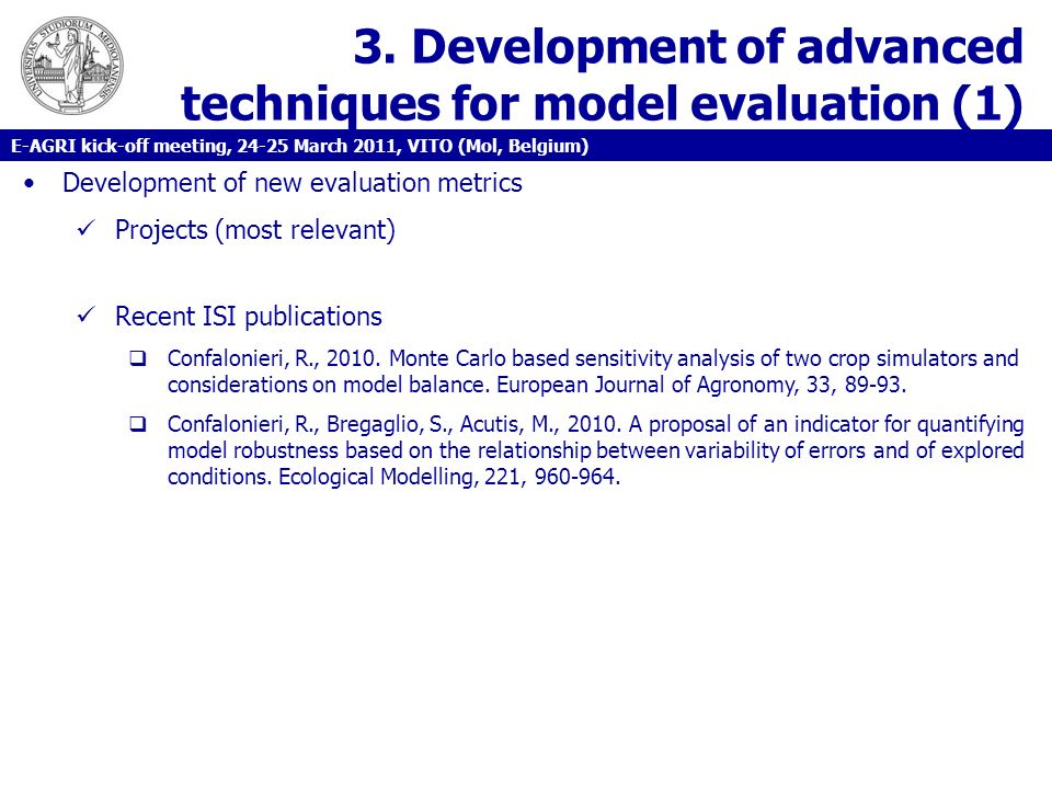 3. Development of advanced techniques for model evaluation (1)