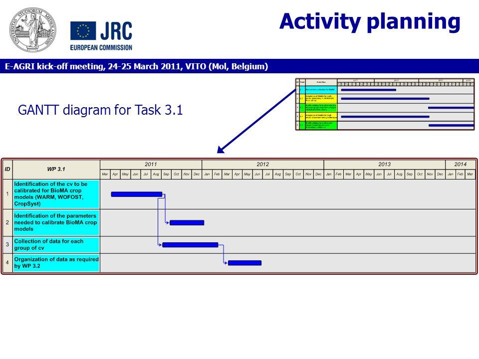 Activity planning GANTT diagram for Task 3.1