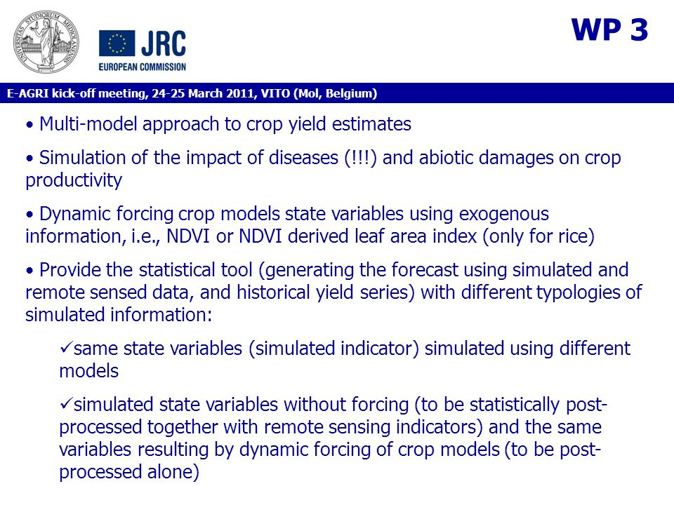 WP 3 Multi-model approach to crop yield estimates