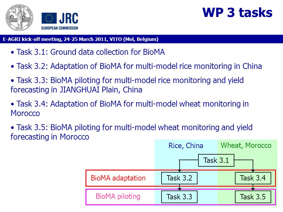WP 3 tasks Task 3.1: Ground data collection for BioMA