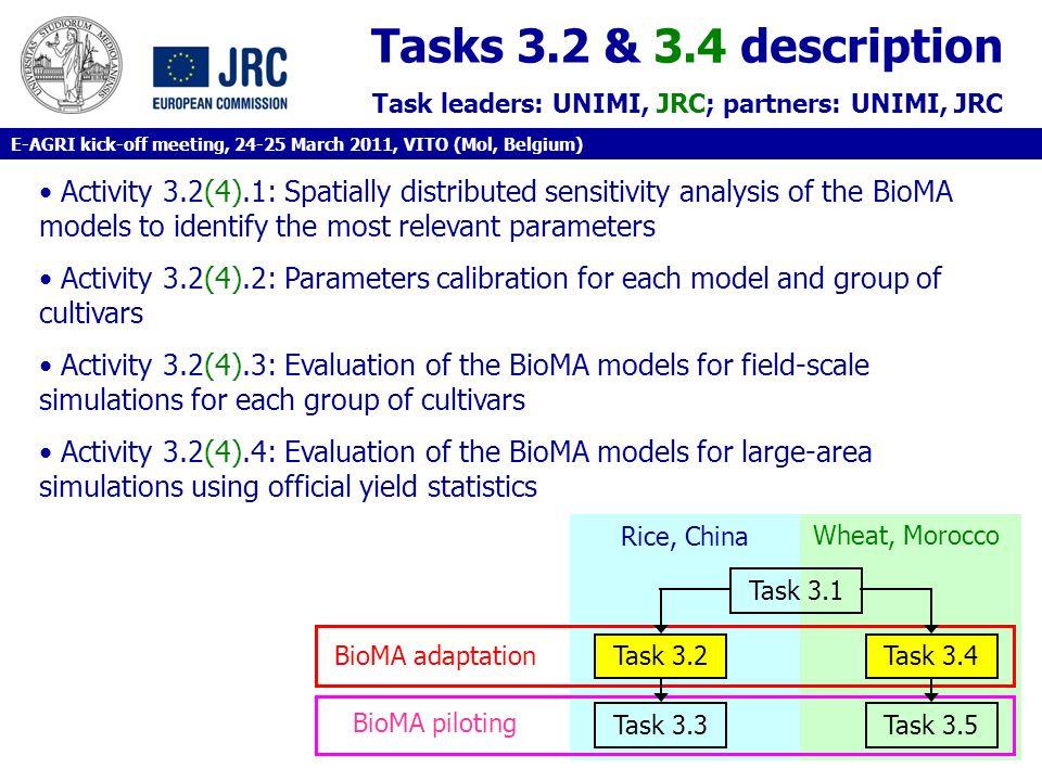 Tasks 3.2 & 3.4 description Task leaders: UNIMI, JRC; partners: UNIMI, JRC.