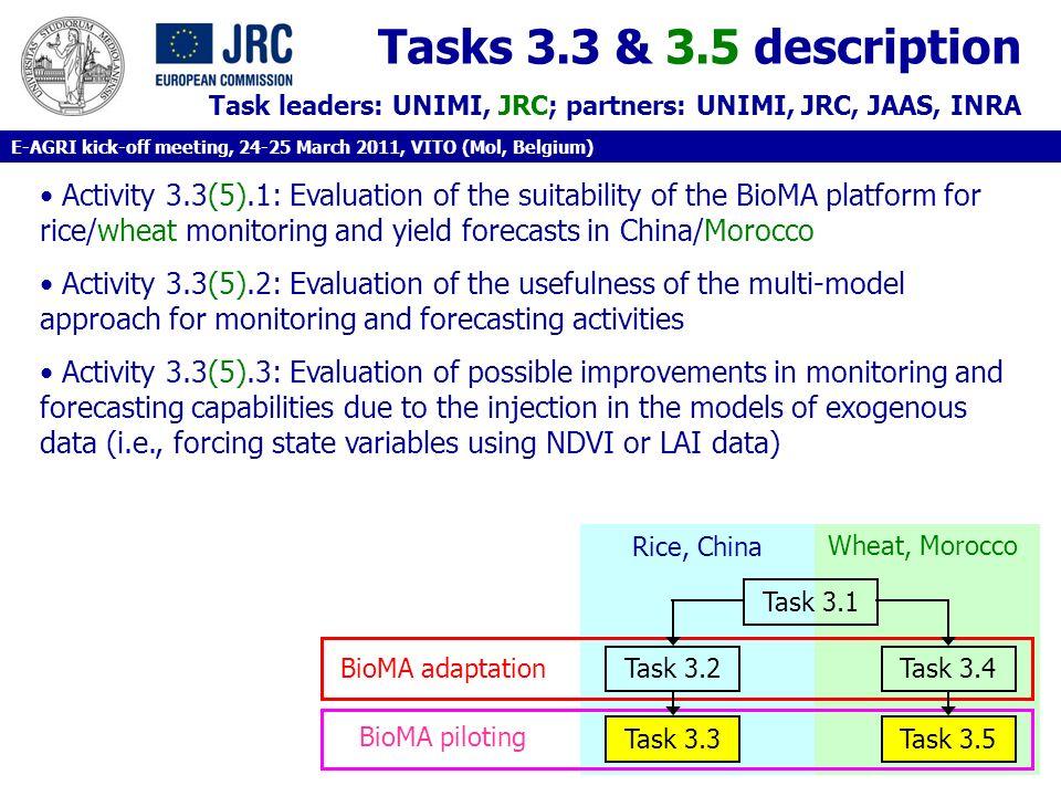 Tasks 3.3 & 3.5 description Task leaders: UNIMI, JRC; partners: UNIMI, JRC, JAAS, INRA.