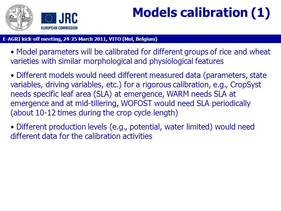 Models calibration (1)