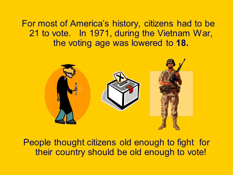 For most of America's history, citizens had to be 21 to vote