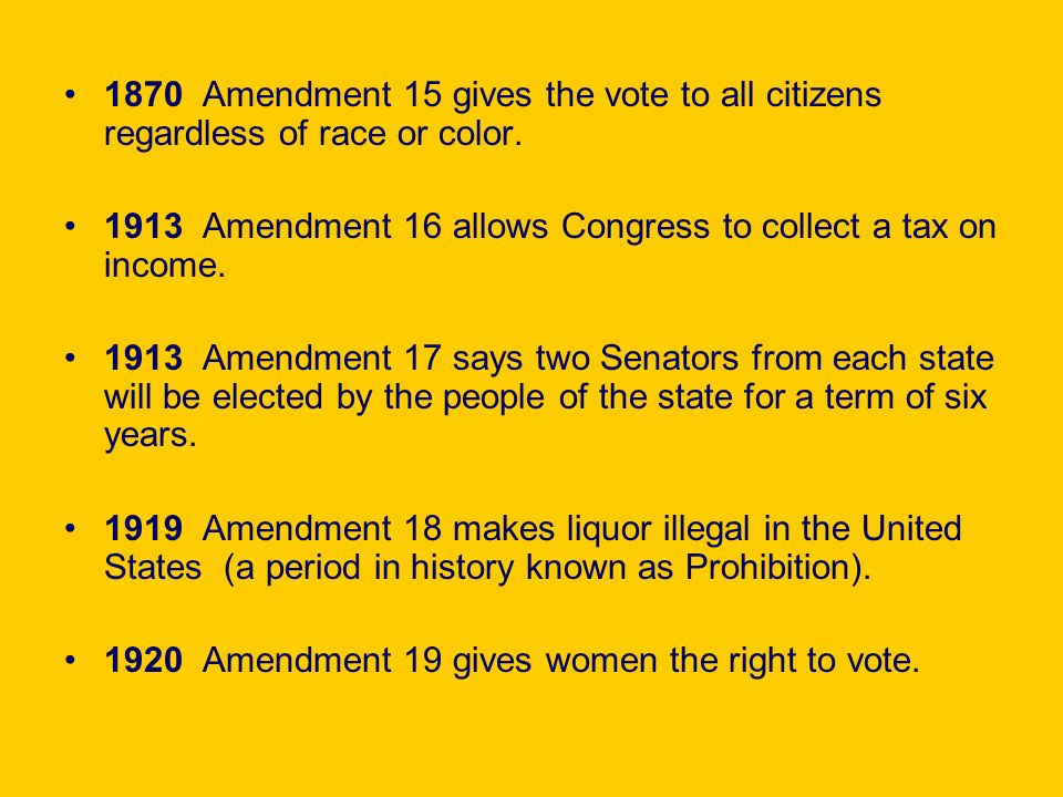 1870 Amendment 15 gives the vote to all citizens regardless of race or color.