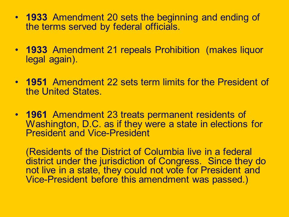 1933 Amendment 20 sets the beginning and ending of the terms served by federal officials.