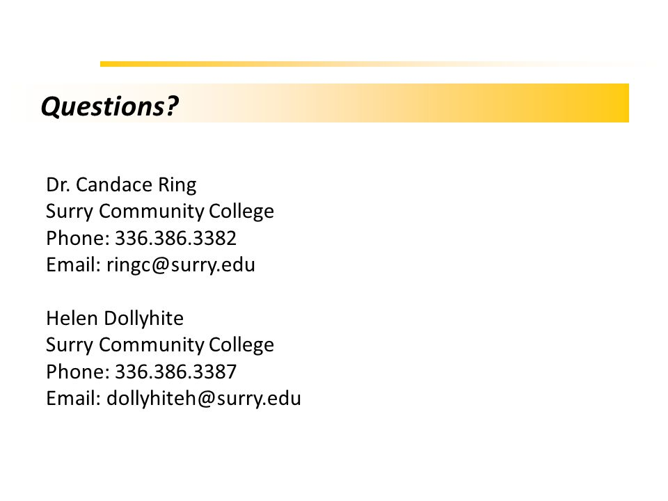 Questions Dr. Candace Ring Surry Community College