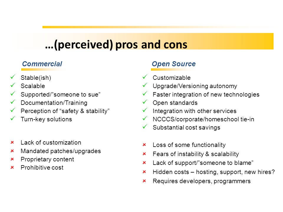 …(perceived) pros and cons