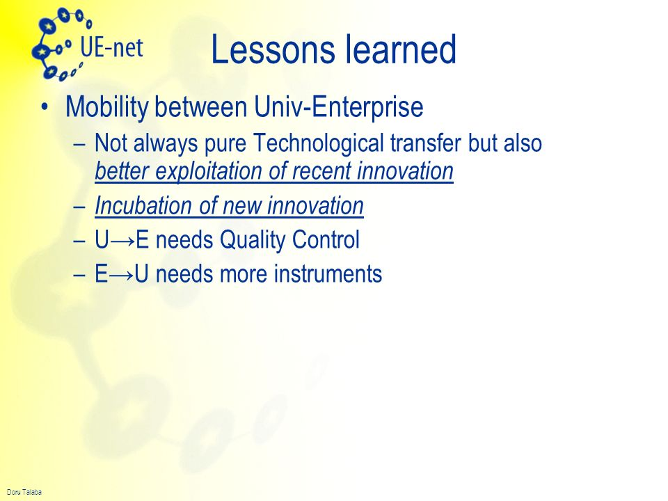 Lessons learned Mobility between Univ-Enterprise