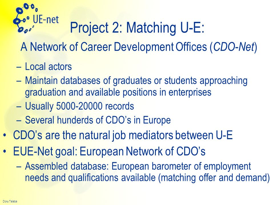 Project 2: Matching U-E: A Network of Career Development Offices (CDO-Net)