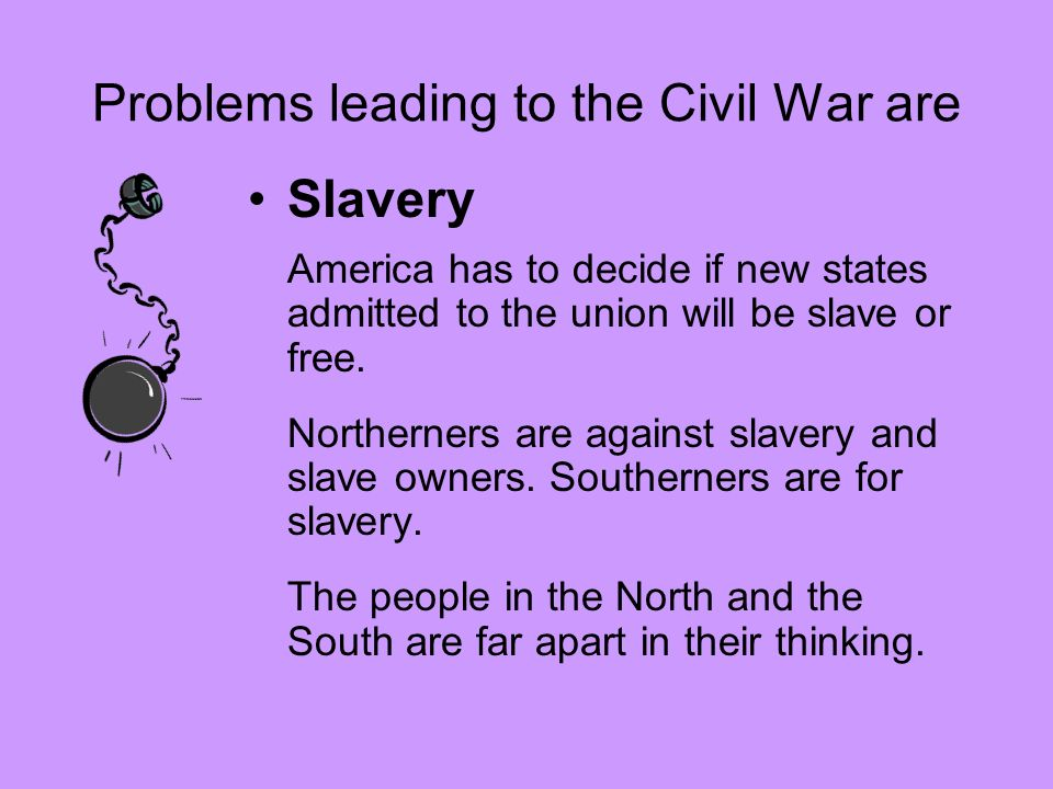 Problems leading to the Civil War are