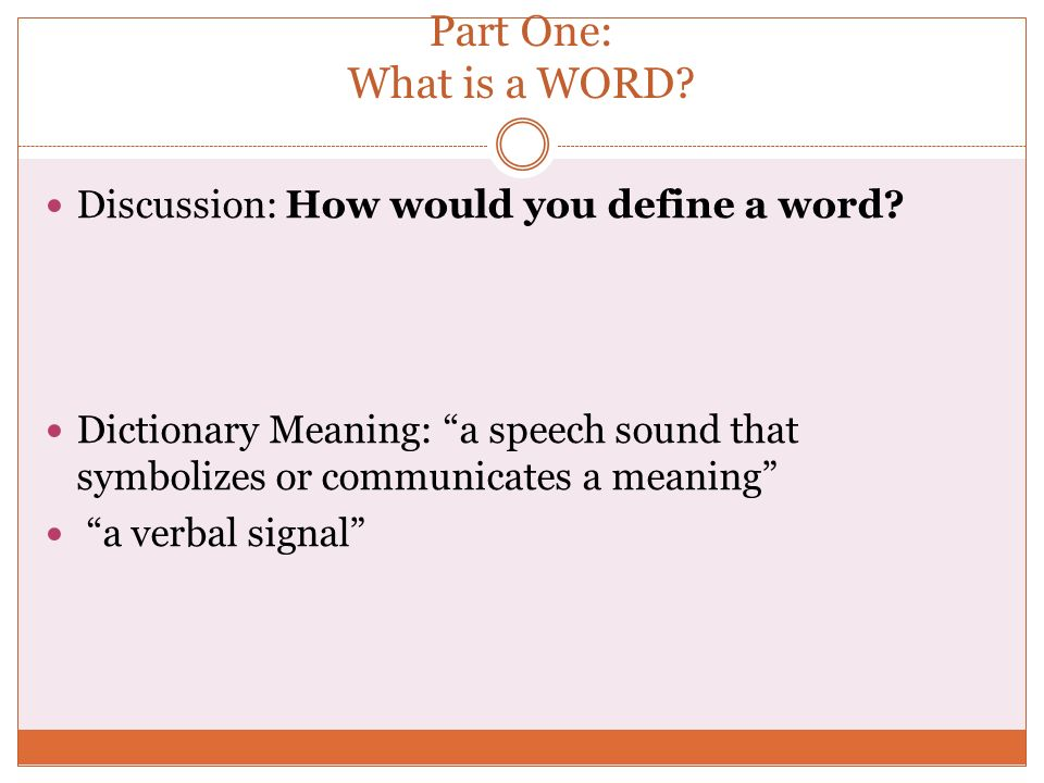 how would you define the word