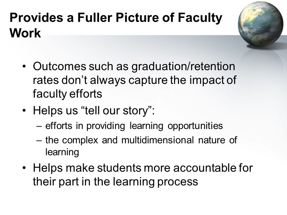 Provides a Fuller Picture of Faculty Work