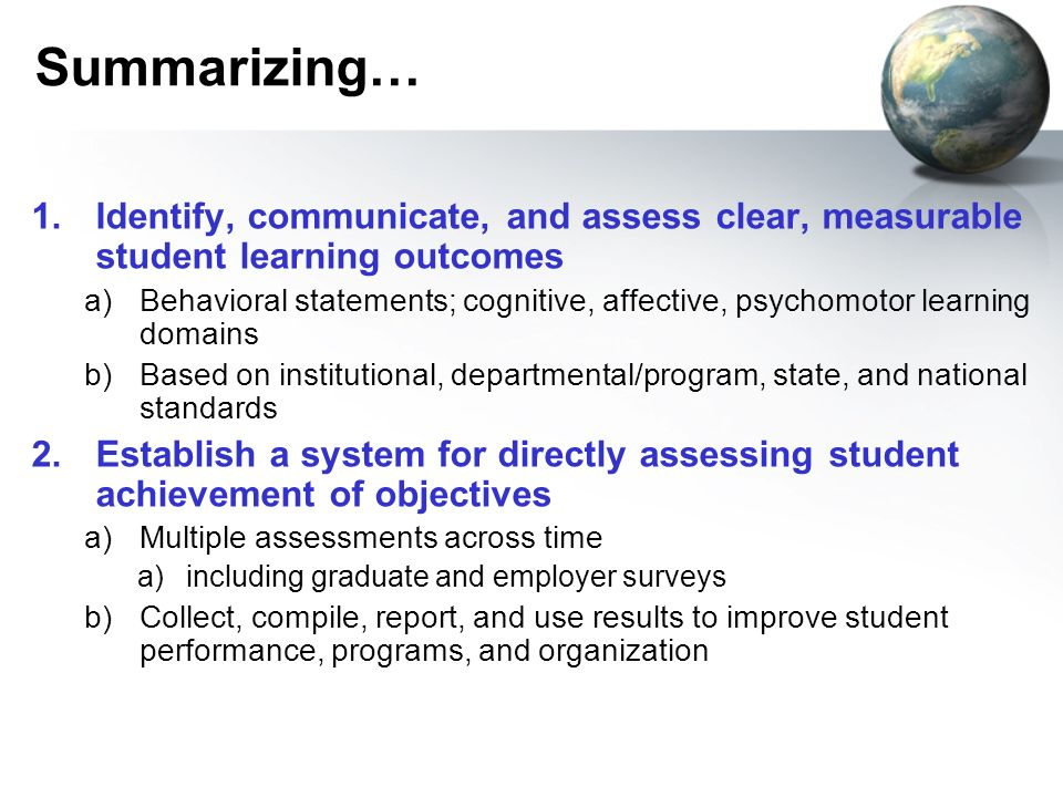 Summarizing… Identify, communicate, and assess clear, measurable student learning outcomes.
