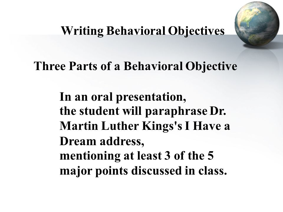 how to write behavioural objectives