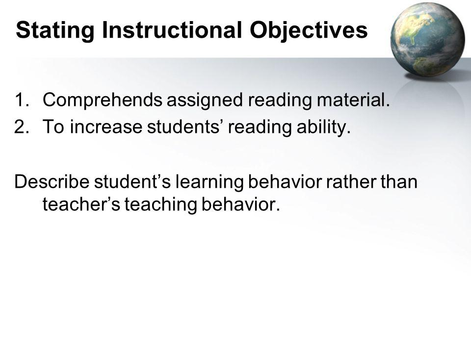 Stating Instructional Objectives