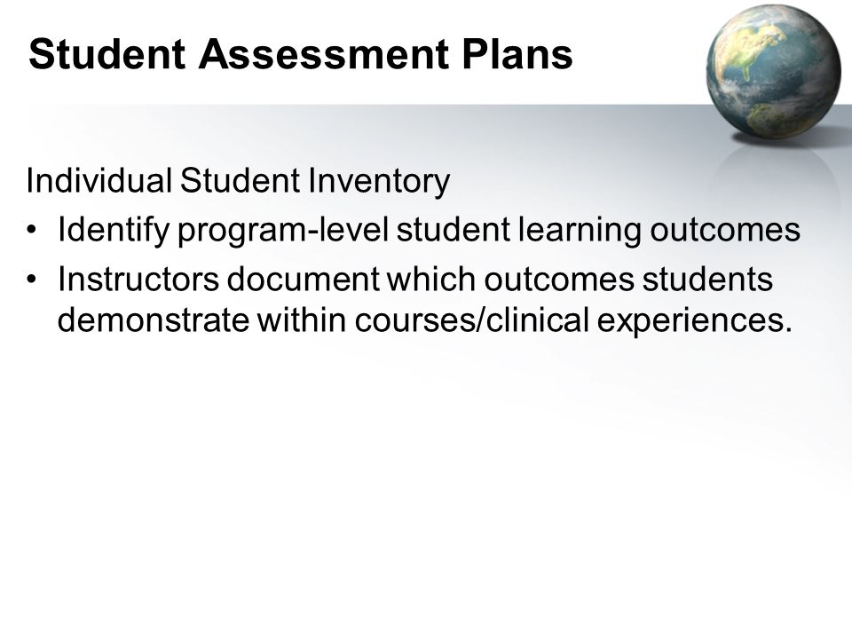 Student Assessment Plans