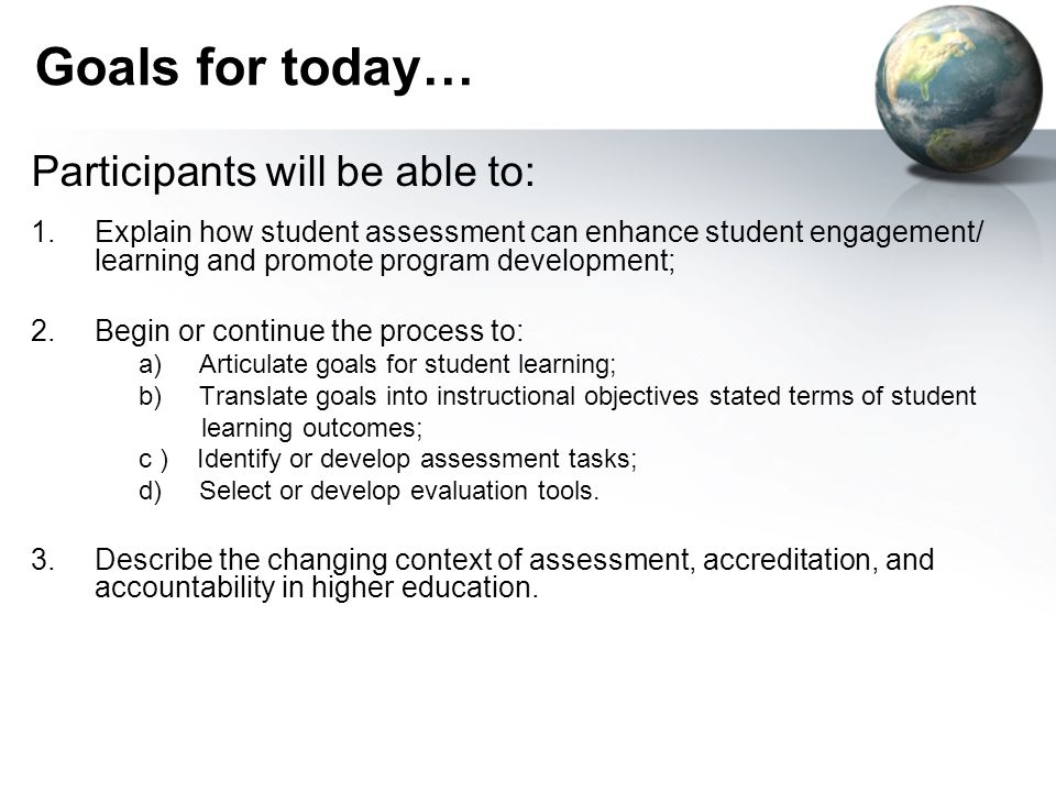 Goals for today… Participants will be able to: