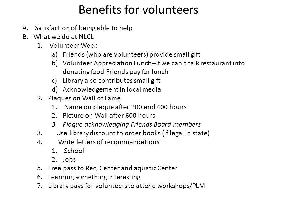 Benefits for volunteers