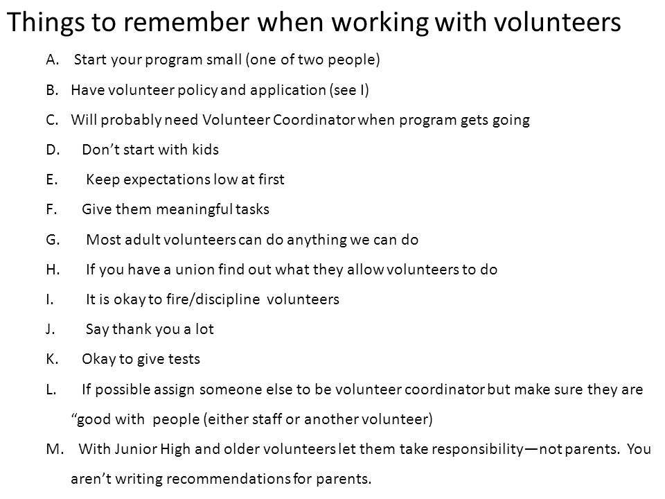 Things to remember when working with volunteers