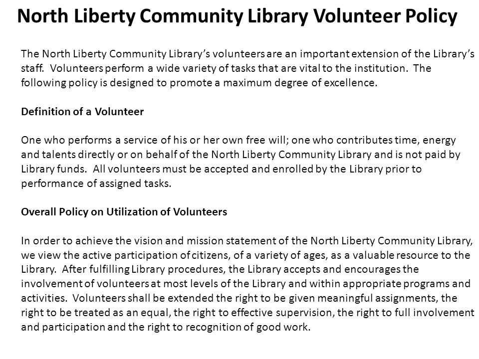 North Liberty Community Library Volunteer Policy
