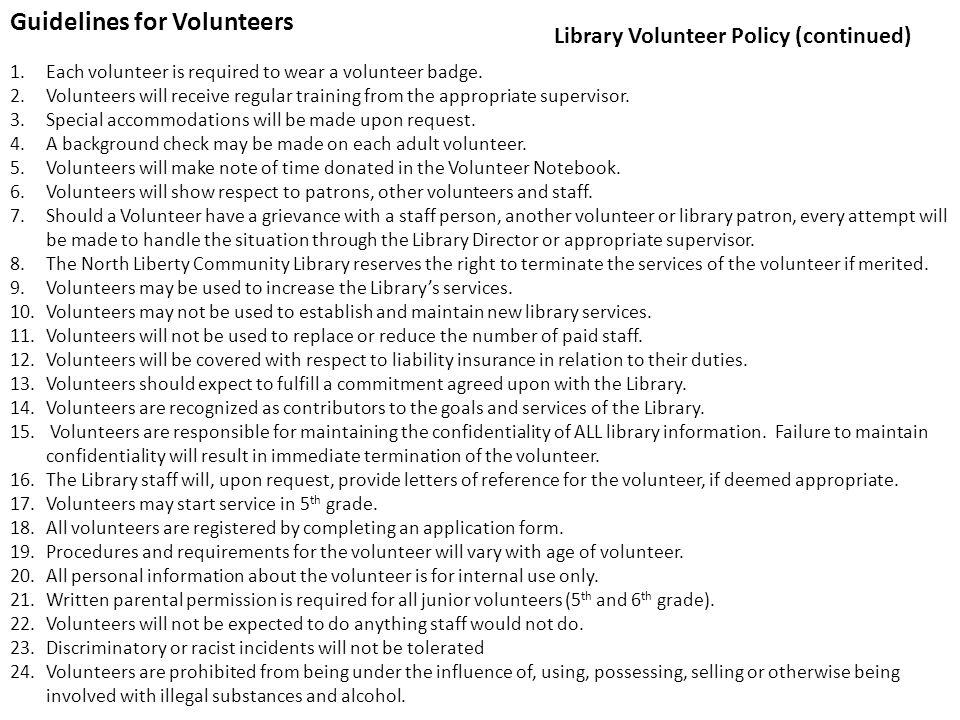 Guidelines for Volunteers