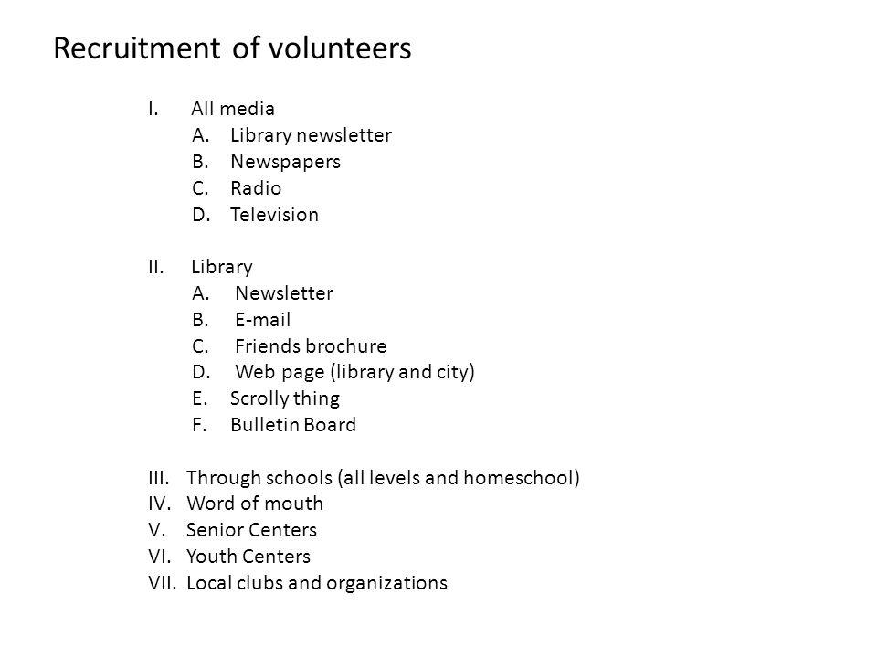 Recruitment of volunteers
