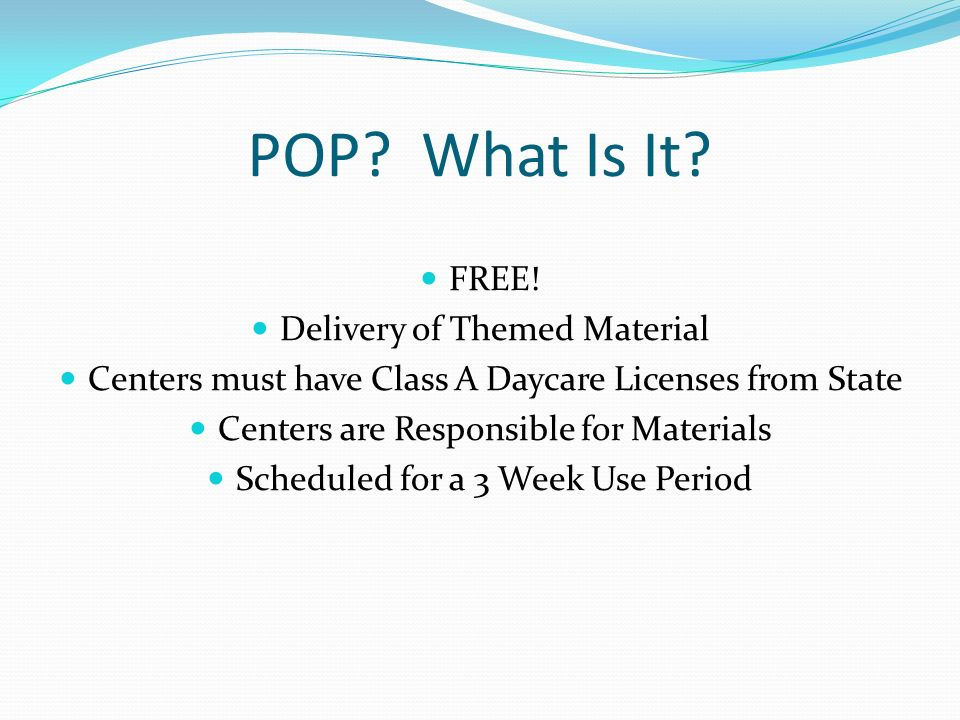 POP What Is It FREE! Delivery of Themed Material