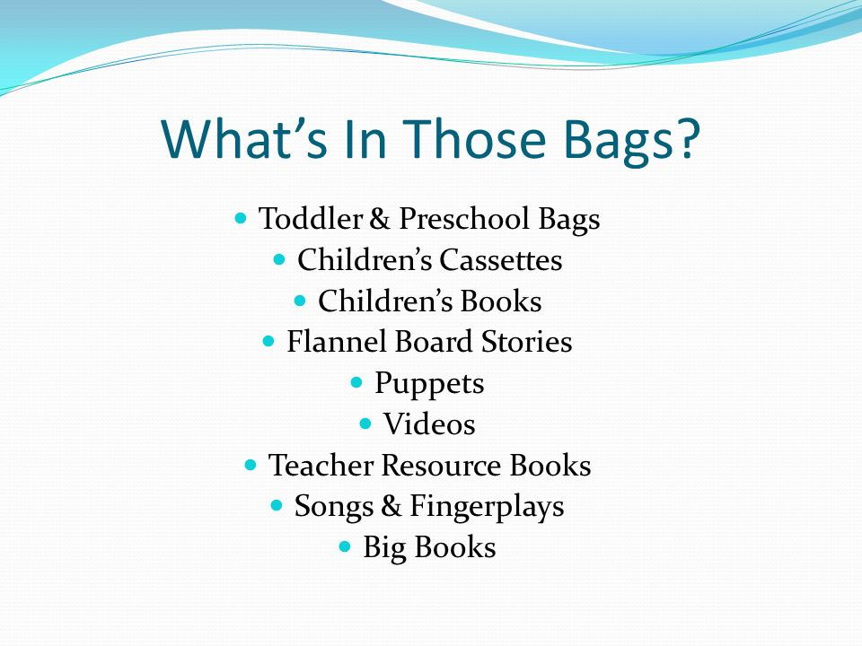 What's In Those Bags Toddler & Preschool Bags Children's Cassettes