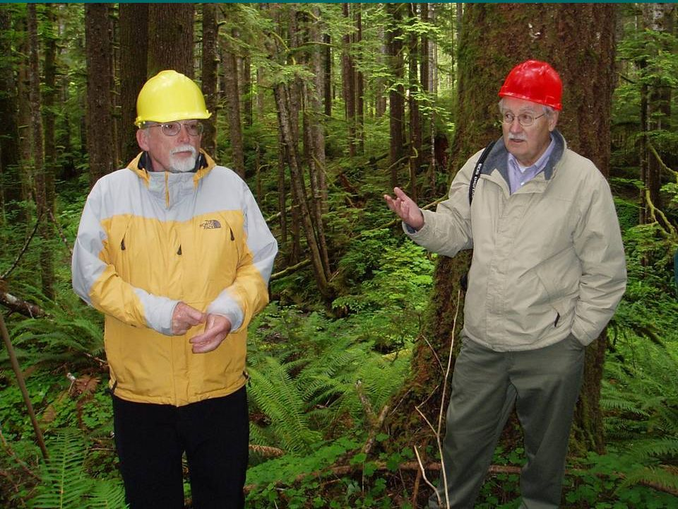 Andy Carey and Jerry Franklin in Kugel Creek no-cut buffer (Kmark,2002)