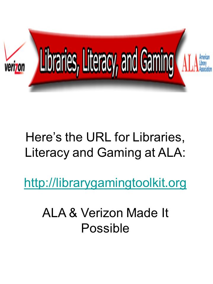 Here's the URL for Libraries, Literacy and Gaming at ALA: