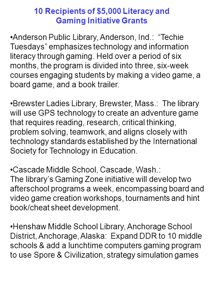 10 Recipients of $5,000 Literacy and Gaming Initiative Grants
