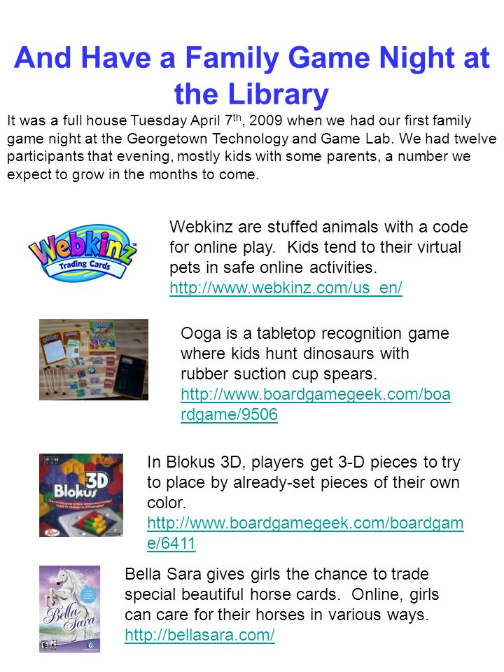 And Have a Family Game Night at the Library