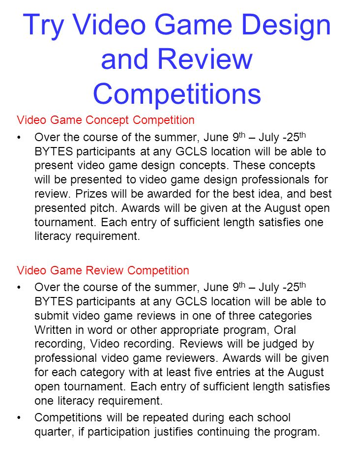 Try Video Game Design and Review Competitions