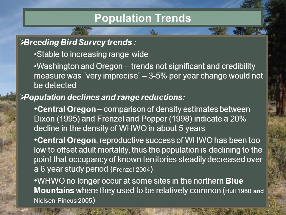Population Trends Breeding Bird Survey trends :