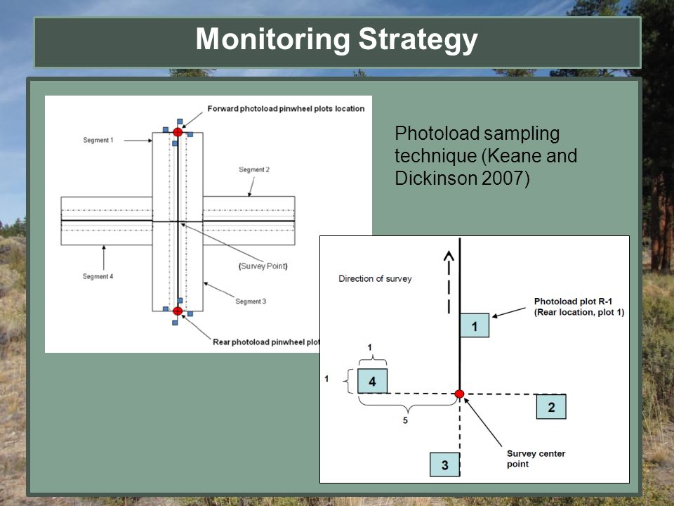 Monitoring Strategy Photoload sampling technique (Keane and Dickinson 2007)