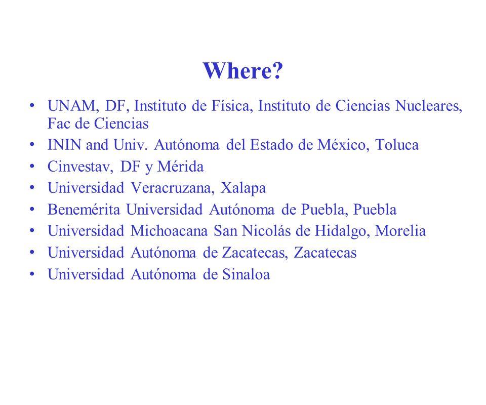 Where UNAM, DF, Instituto de Física, Instituto de Ciencias Nucleares, Fac de Ciencias. ININ and Univ. Autónoma del Estado de México, Toluca.