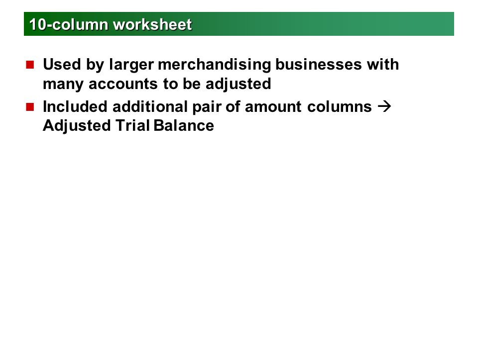 Worksheet for a Merchandising Business - ppt video online download
