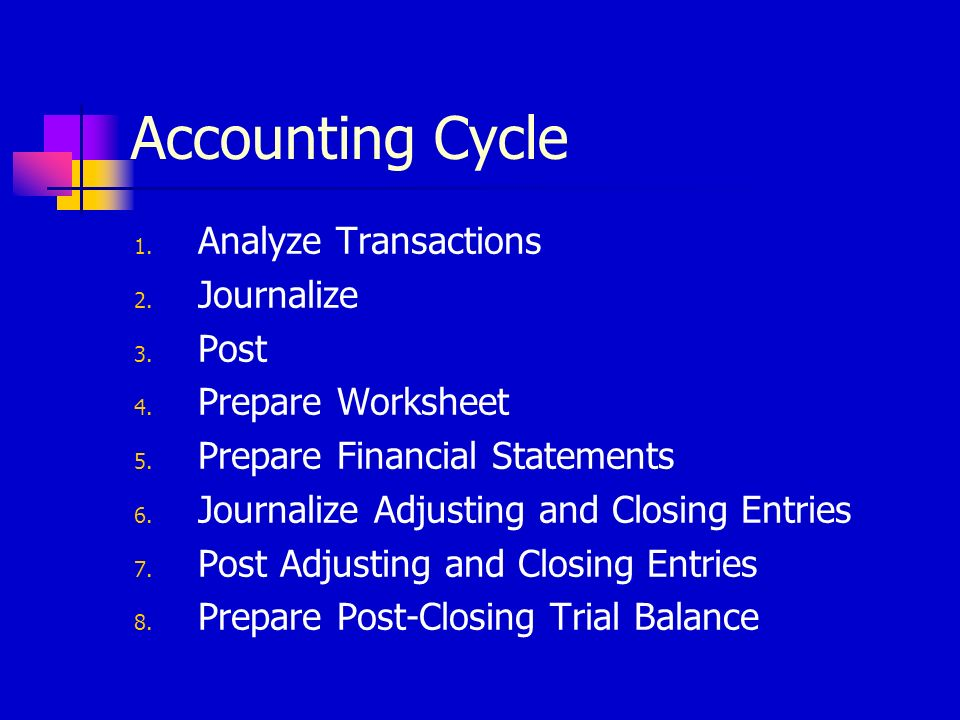 Accounting Cycle Analyze Transactions Journalize Post