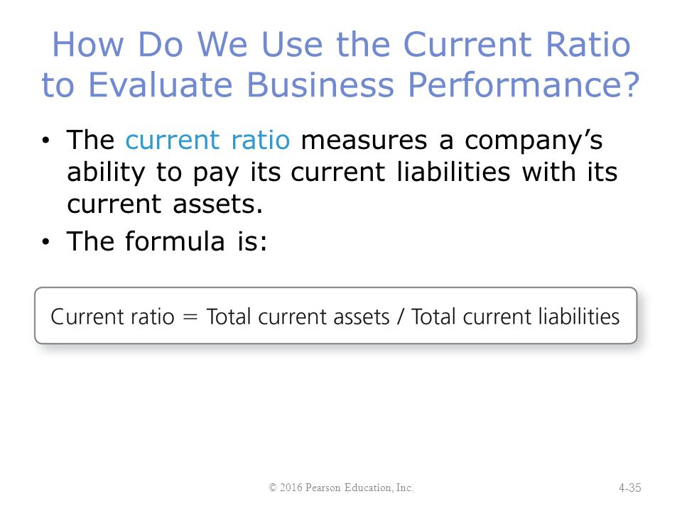 ability to pay current liabilities = total current assets / total current liabilities-measures company's ability to pay its current liabilities with its current assets [for every dollar of current liability, company has.
