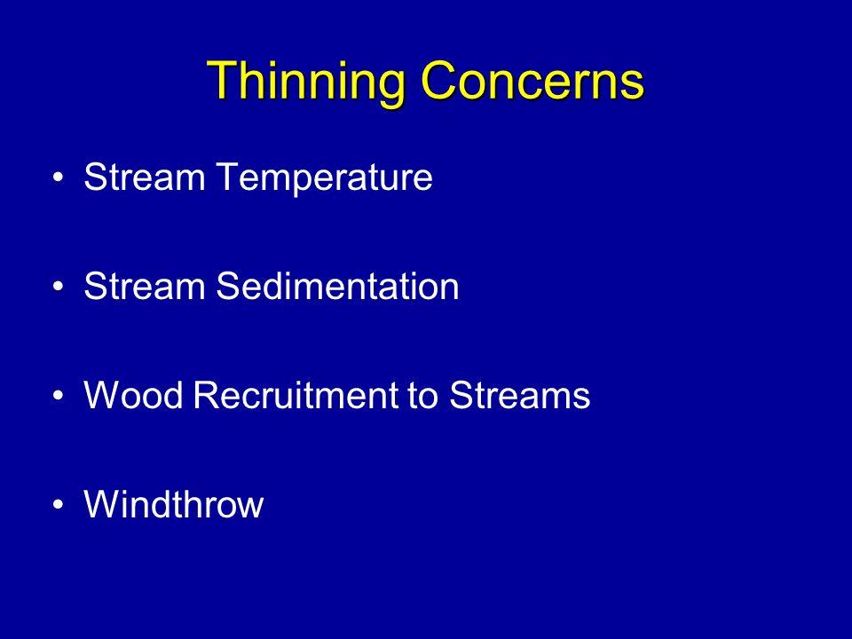 Thinning Concerns Stream Temperature Stream Sedimentation