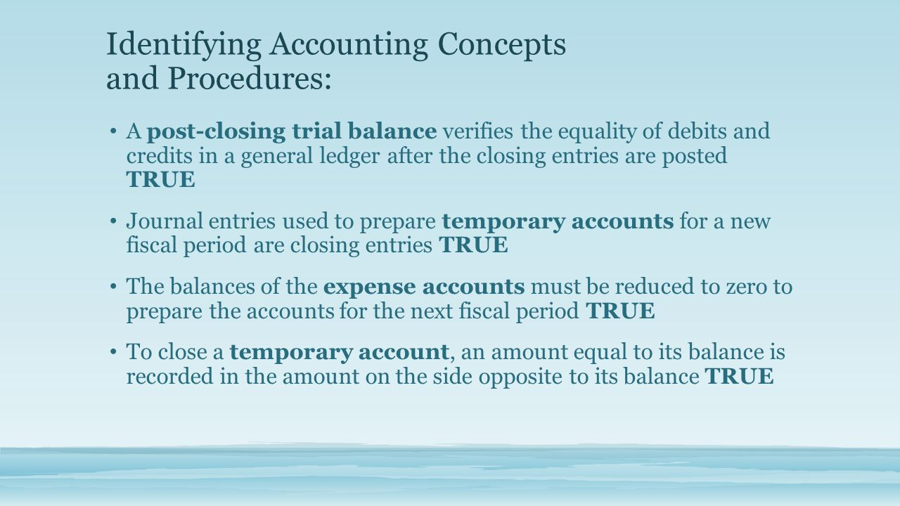 Identifying Accounting Concepts and Procedures: