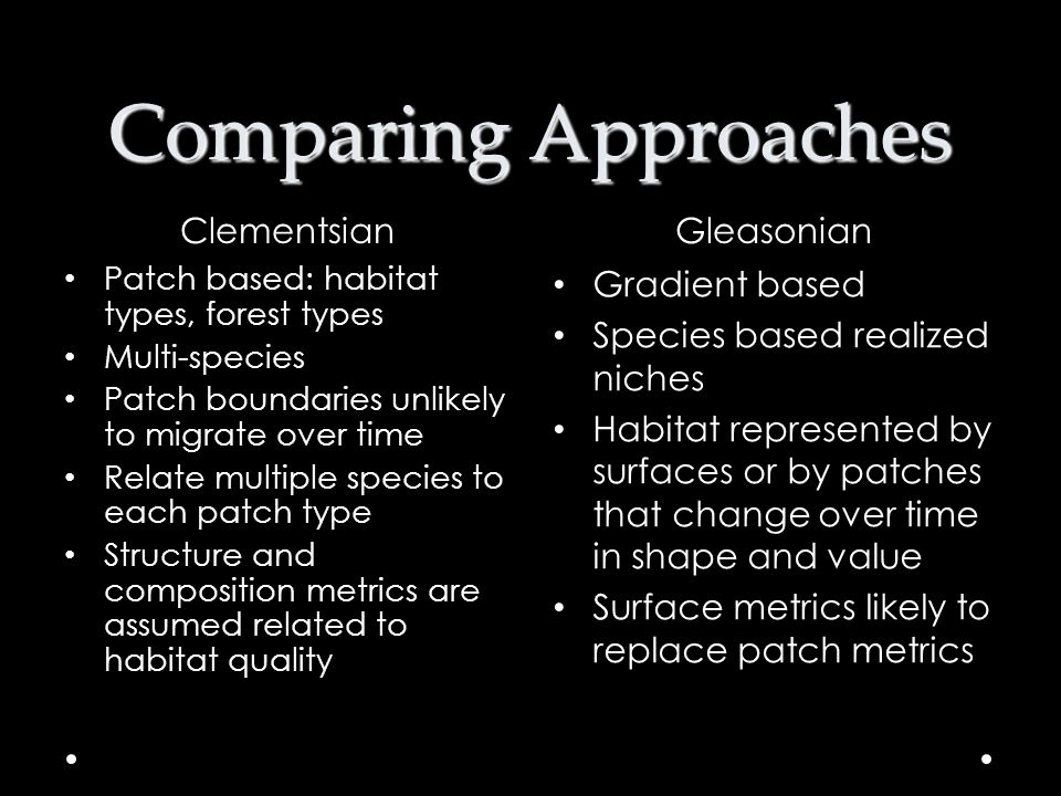 Comparing Approaches Clementsian Gleasonian Gradient based