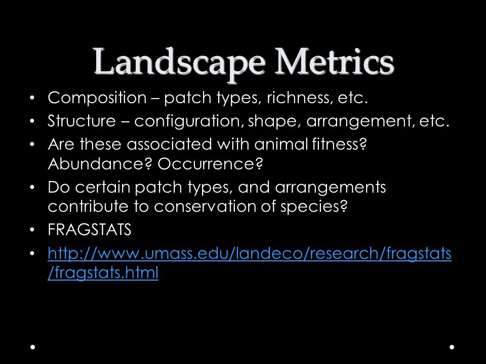 Landscape Metrics Composition – patch types, richness, etc.